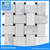 Carrara White 4x4 Basketweave Mosaic Corner With Black Dots Honed