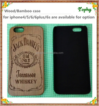 2015 Creative nature Wooden Mobile Case For I phone with jack daniels design