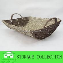 handmade rattan grey baskets with handle