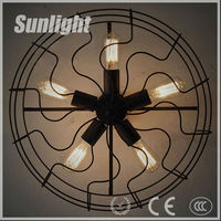 Vintage Light Fan Shape Halogen Metal Industrial Loft Pendant Lamp/light/lighting with 5 edison Bulb