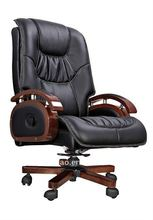leather swivel office boss chair base wooden in china AB-309