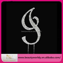 Sparkling silver monogram letter rhinestone cake topper wholesale