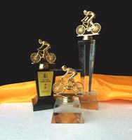 New Design Crystal Metal Athlete Riding Bike Award Trophy