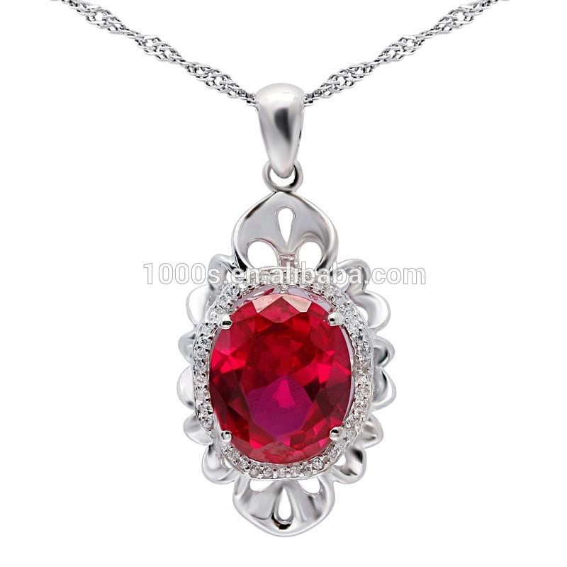 Luxo vermelho pedra preciosa pingente, 925 pingente de prata para a festa, aniversário