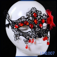 2016 African hot sale cheap with pendant wholesale beauty female red flower party face mask