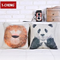 Cute Sprout Animals Lionet And Panda Pillow Home Decorative Cushion Cover