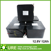 12.8V 12Ah lithium iron phosphate battery pack with 100% full capacity
