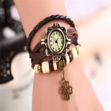 2015 Trend Design Quartz Watch High Quality Women Leather Vintage Watch,bracelet Wristwatches Clovers, Quartz wrist watch for w