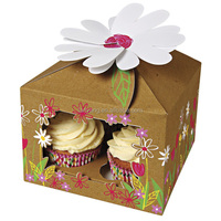 2015 New Kraft Paper Four Cupcakes Box Cute Flower Design Cake Packaging Boxes Wholesale (BF179)