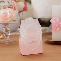 Elegant Laser Cut Candy Box Wedding Favor Box in Pink CB018, Matching with Invitation CW018