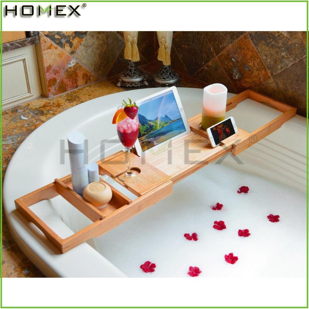 Hot Sell Bamboo Bathtub Caddy/expandable Bath Tray/homex_fsc/bsci ...