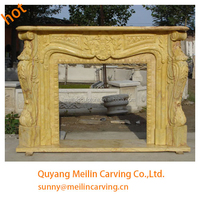 natural yellow marble machine carved french decoration fireplace mantel