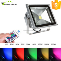 high lumen 150w high power IP65 cob led floodlight, RGB color changing outdoor 50w 100w led flood light housing