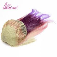 K.S WIGS purple ombre kanekalon synthetic fiber hair extension wig