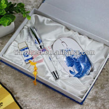 Three-piece gift set blue and white porcelain pen tray wireless mouse 4G 8G USB flash disk souvenir gift KIT