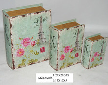 Elegant delicate water pink flowers on blue style upright wooden book box