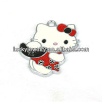 Fashion High Quality Children Jewelry Colorful Enamel Cute Hello Kitty Cat Pendant Jewelry Charms Wholesale