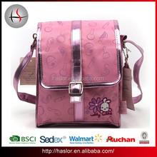 Hot selling cute pink school leather shoulder bag for girl