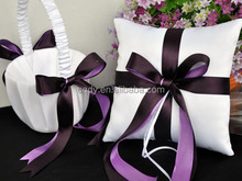Mor kanat dekore düğün koleksiyonu, çiçek kız sepeti, yüzük yastık, kalem seti, jartiyer