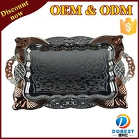 wholesale silver plated serving tray with handles/stainless steel serving tray/arab serving tray T228