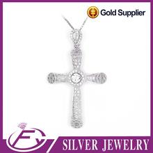 Shining polish high grade cubic zirconia 925 sterling silver ankh pendant