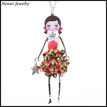 Newei 2015 Fashion Acrylic Alloy Cute Girl Women Flower Jewelry Accessories Doll Necklace Pendent