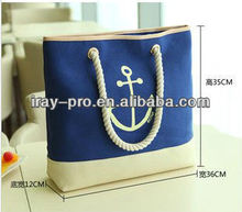 2013 new style fashion cheap durable canvas handbags ladies with navy blue