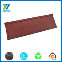 Stone coated shingle wine red steel roofing tile
