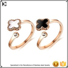 cheap wholesale stainless steel Four Leaf Clover finger ring