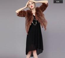 2015 popular short style real fox fur with rex rabbit fur patchwork coat