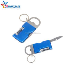 Advertising mini multifunction folding knife with keychain