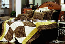 new hot sale popular white and bear brown colored pv or plash coral fleece plaid patchwork comforter set for adults