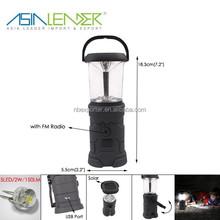 Factory Price Multi-function 5 LED Camping Light with FM Radio Hand Crank LED Lantern