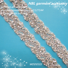 beaded crystal rhinestone belts for wedding dresses WDD0103
