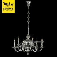 Antique Baroque 6 Lights Pendant Lighting Antique silver Home Candle Copper chandelier lights