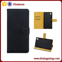 Book Style Stand Flip Genuine leather wallet case for Sony Xperia Z5 Premium with card slots