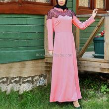 Latest design 100% polyester dubai fashion lace islamic clothing pink maxi arab abayas