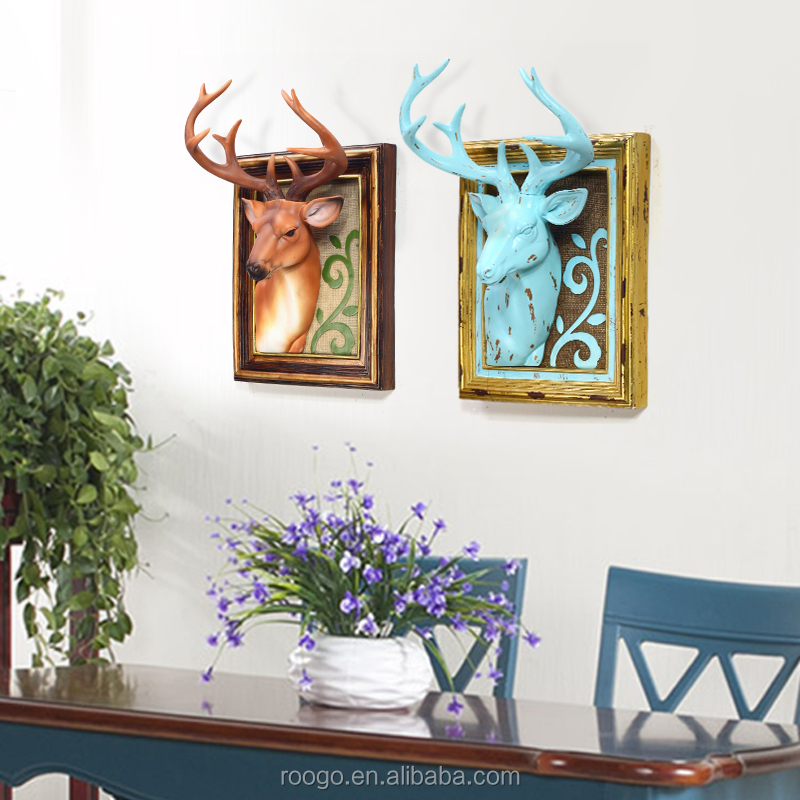 3d resin deer wall art decor animal head wall decoration for Resin wall art