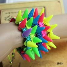 Fashion Cheap Colorful Punk Rivet Plastic Bracelet