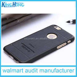 black Electroplated laser wood TPU+PU cell phone case for iphone 6.6plus