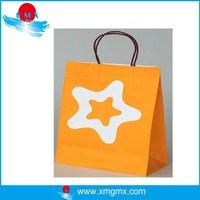 Orange Color Paper Gift Bag with Start Printing