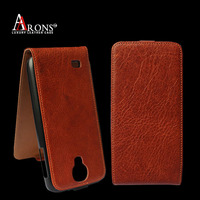First grain genuine leather flip case for samsung s4