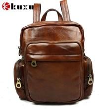 Promotion unisex women backpacks genuine leather men's backpacks cowhide leather backpack vintage men travel bags