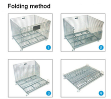 Industrial folding rolling metal steel storage cage with wheels