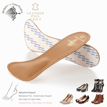 comfortable genuine 3/4 leather toe pad for women support shoe insole