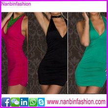 New arrival elegant sleeveless deep V neck low back sexy dress