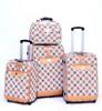 3pcs + Lady Bag Pink Aluminum Trolley Luggage
