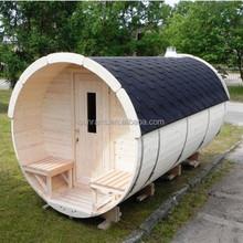 Hot sale SR158 barrel outdoor sauna steam hemlock wooden sauna house