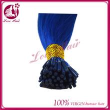 Large In Stock overseas brazilian i tip /u tip silk best selling human micro ring hair popular color diamond blue pre-bonded