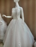 2015 Real picture shiny Beaded Crystal elegent halter Wedding Dresses Beautiful floor-length lace-up formal bridal gowns